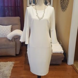 Beautiful calvin Klein white dress gold zipper in